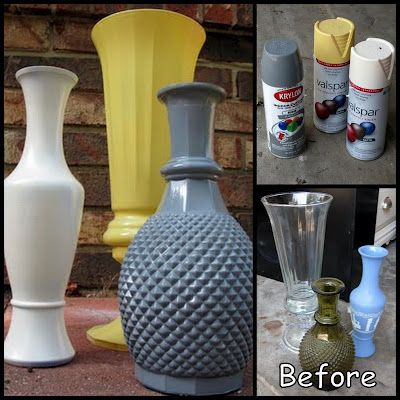 spray painted vases can use any color you want craft. Black Bedroom Furniture Sets. Home Design Ideas