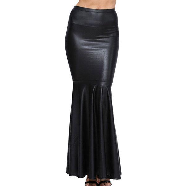 c199c04acc Black Stylish Ladies Plain Fishtail Maxi Leather Skirt ($33) ❤ liked on  Polyvore featuring black