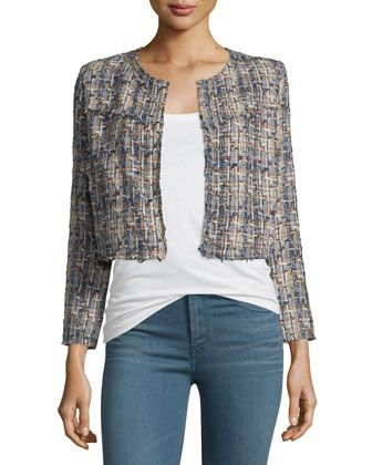 Hella Frayed-Trim Cropped Tweed Jacket, Blue/Multicolor by IRO at Bergdorf Goodman.