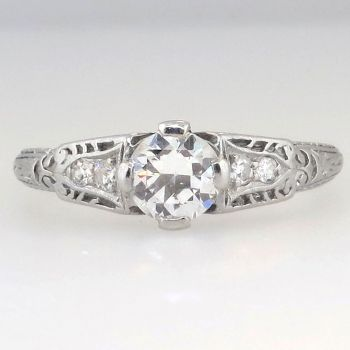 Sweet Art Deco Old European Cut Diamond Engagement Ring | Antique & Estate Jewelry | Jewelry Finds
