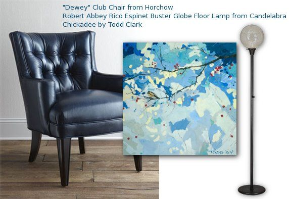 "Art pairing, featuring ""Chickadee"" canvas wall art by Todd Clark for GreenBox Art + Culture"