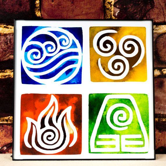 Avatar The Last Airbender Elements Symbols Art Print Legend Of