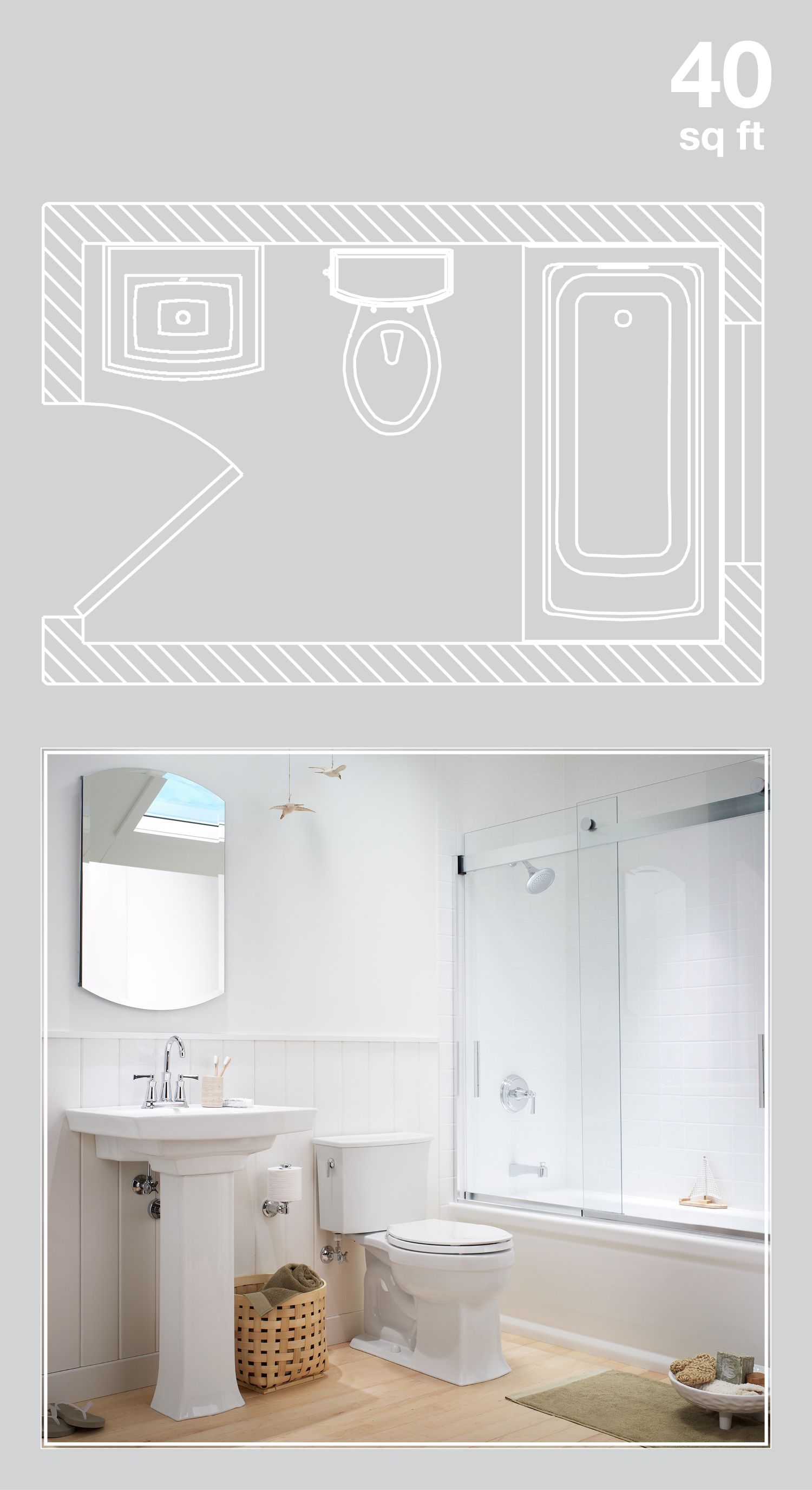 Design Ideas For 40 Square Foot Bathroom With A Tiny Footprint