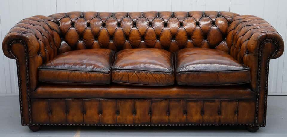 1930s Made In England Hand Dyed Restored Whisky Brown 3 Seat Chesterfield Club In 2020 Brown Leather Chesterfield Best Leather Sofa Modern Leather Sofa