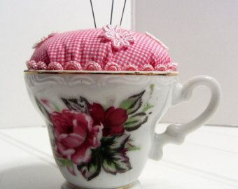Petite Tea Cup Pin Holder Pin Cushion Roses Gingham