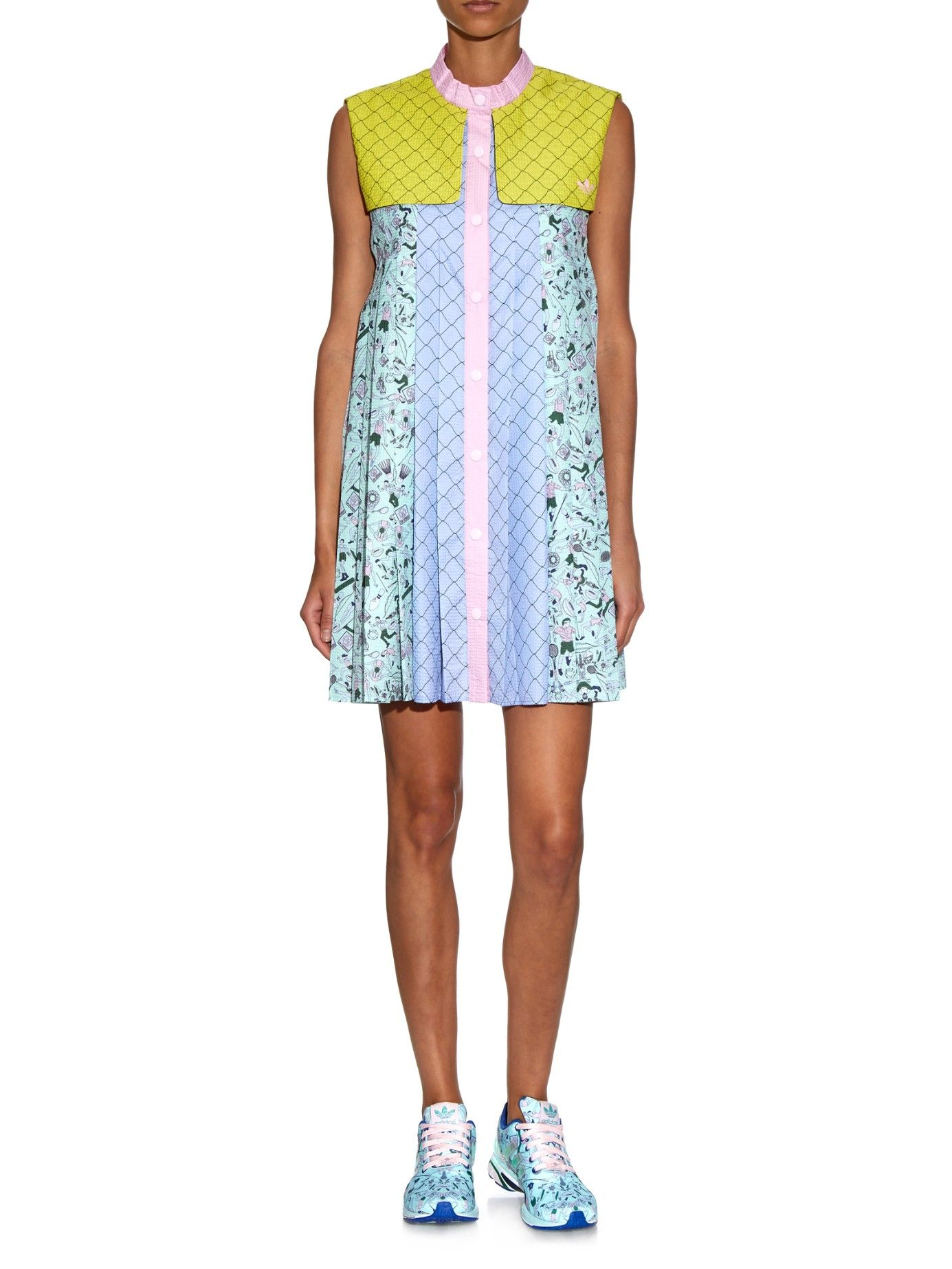 People-print storm-flap textured dress | adidas Originals By Mary Katrantzou  | MATCHESFASHION