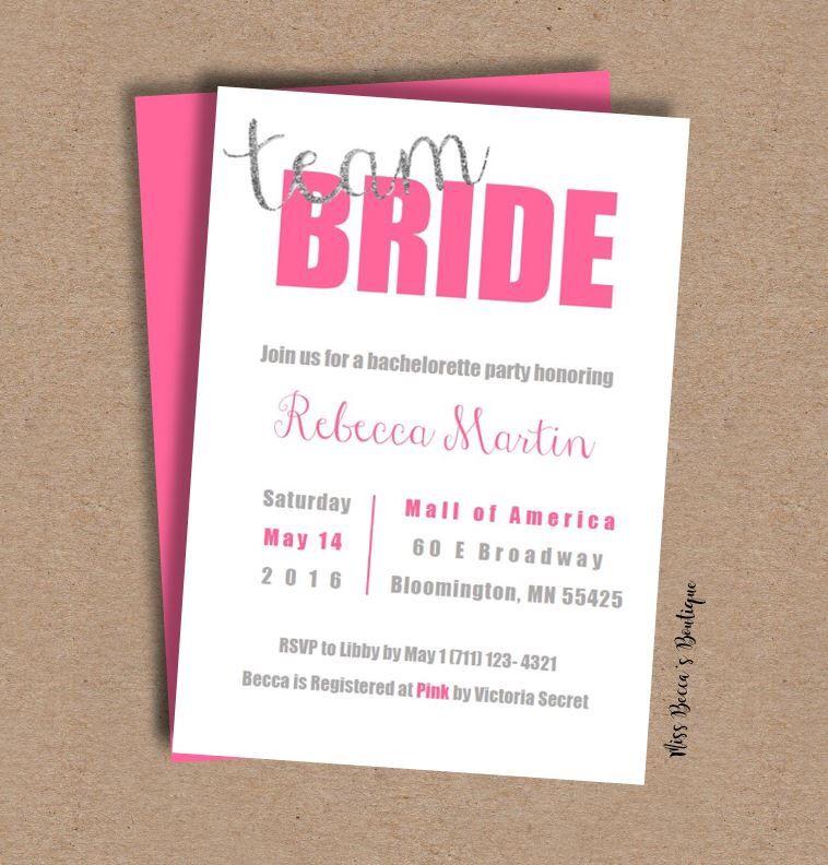 bachelorette party invitation template team bride bridal shower