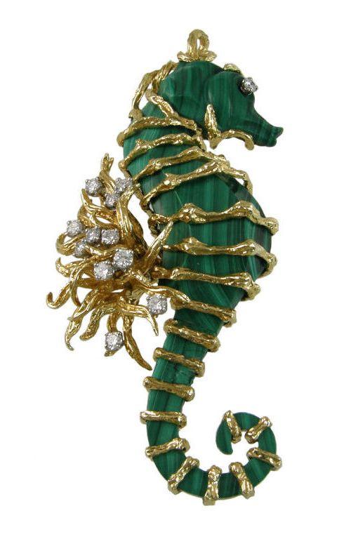 Seahorse - Malachite, diamonds, 18 karat gold