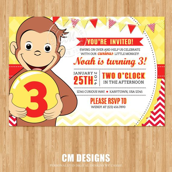 curious george birthday invitation by designsbycassiecm on etsy, Party invitations