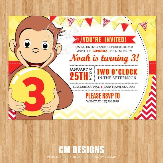 curious george birthday invitation by designsbycassiecm on etsy, Birthday invitations