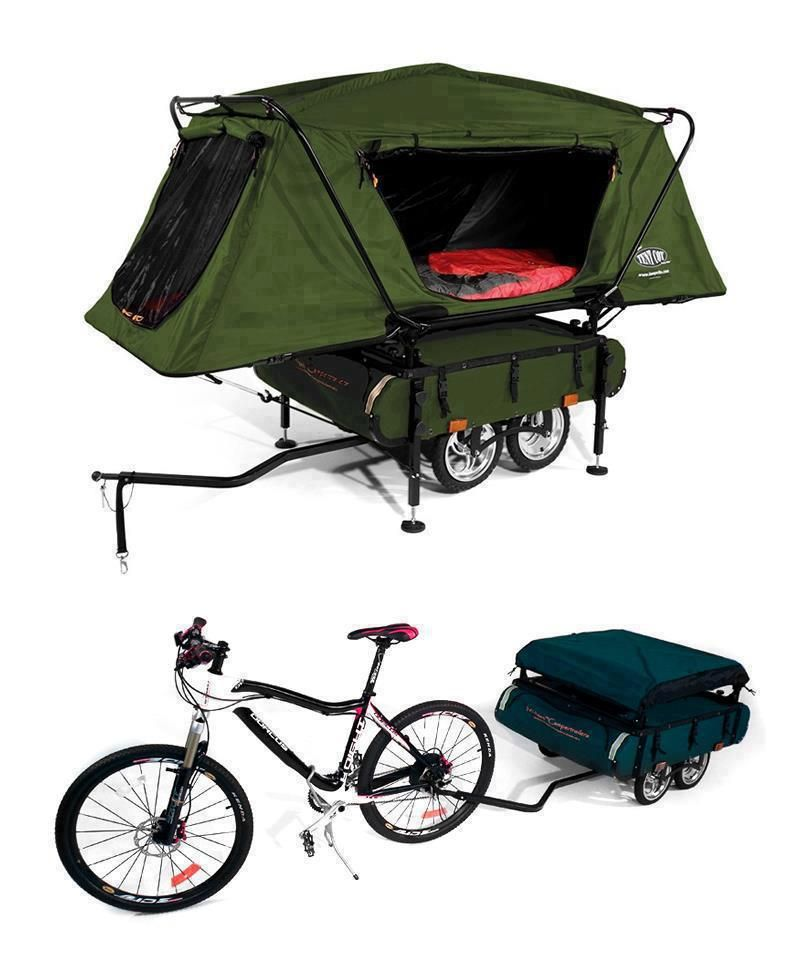 Bicycle Camper Trailer with Oversize Tent Cot | Camping and