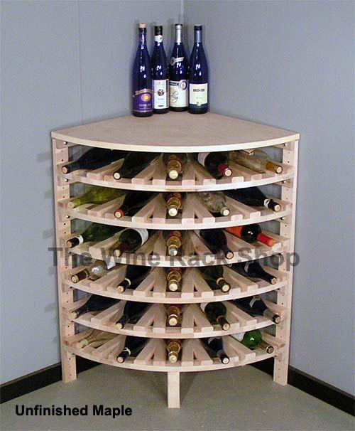 Add A Finish To Our Wood Quarter Round Corner Wine Rack Suportes Para Garrafas De Vinho Adegas De Paletes Armazenamento De Vinho