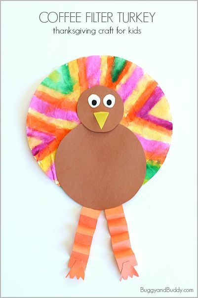Easy Thanksgiving Crafts for Kids: Coffee Filter Turkey Craft - Buggy and Buddy