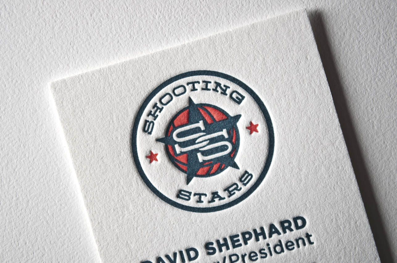 Shooting Stars business cards designed and printed at Pike