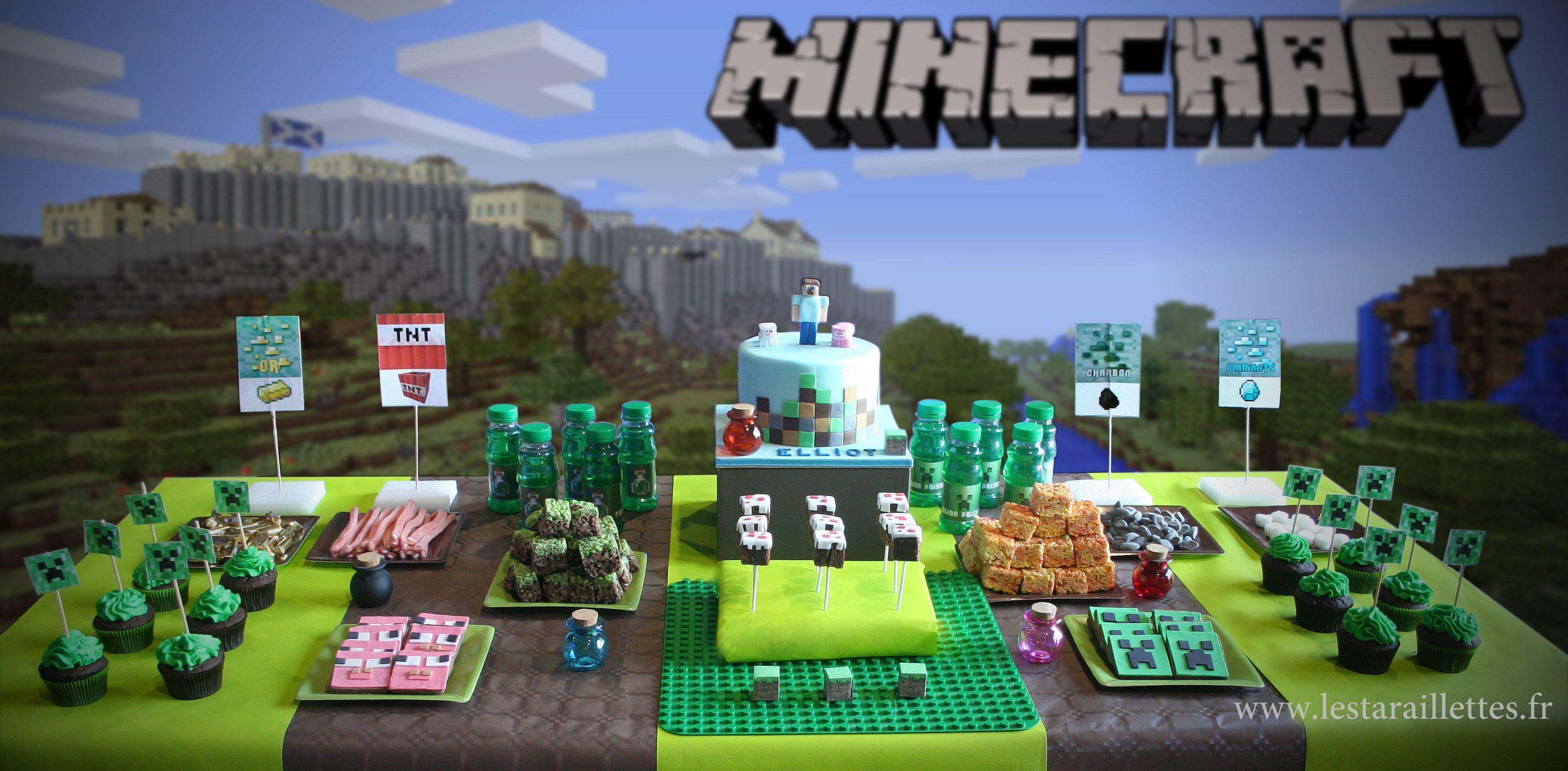 sweet table minecraft gateau d 39 anniversaire minecraft. Black Bedroom Furniture Sets. Home Design Ideas