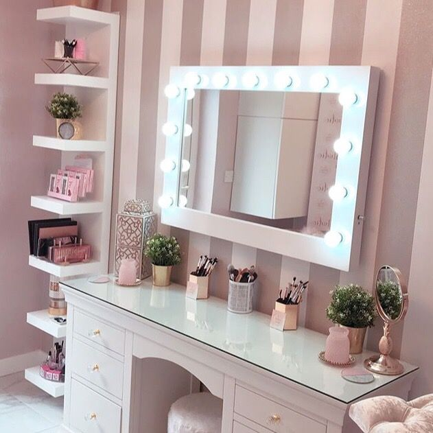 Audrey Hollywood Mirror In White Gloss 100 X 80cm Stylish Bedroom Makeup Room Decor Cute Room Decor