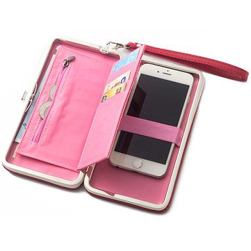 47e7d5957aa Stylish 5.5inch Grid Phone Bag Wallet Card Holder Clutch Bags ...