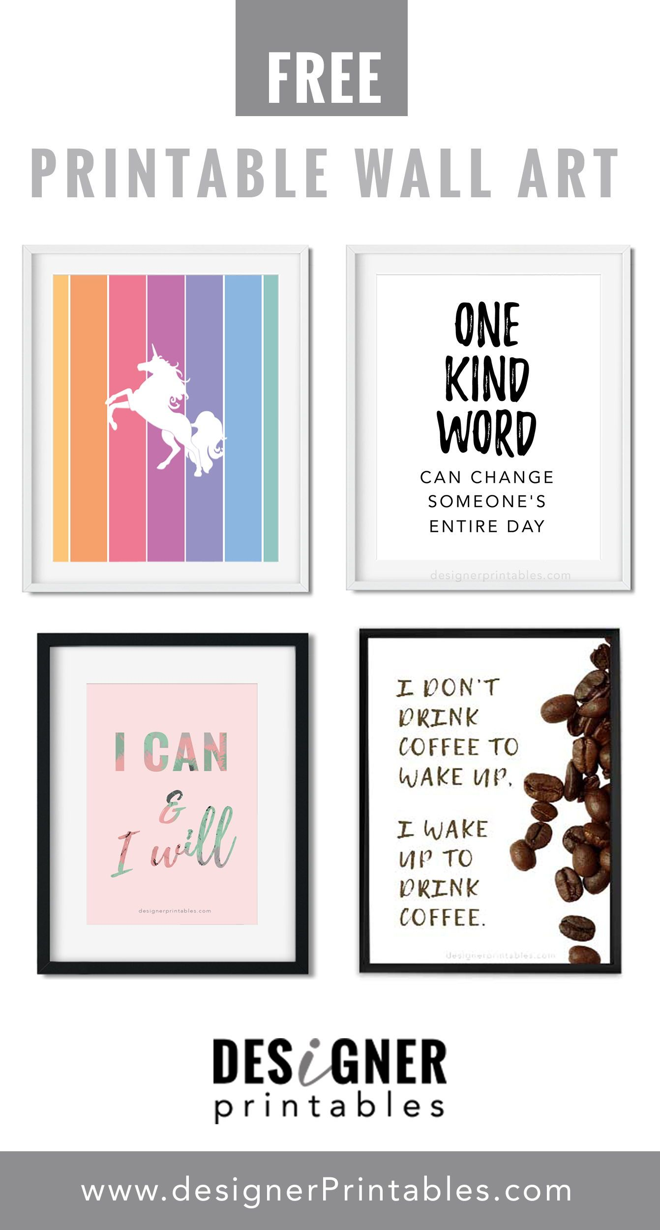 free printable wall art decor, unicorn wall. art ...