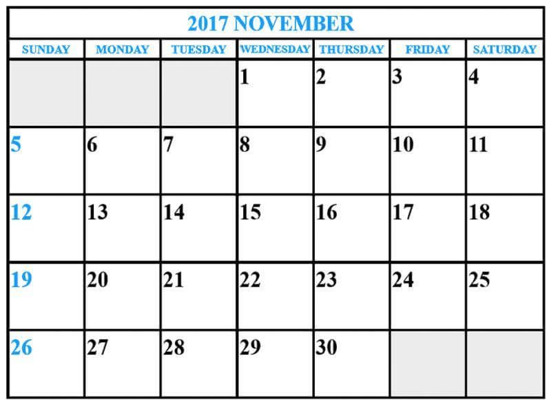 November 2017 Calendar Editable   mobispirit/2017/09 - employee attendance sheet template free
