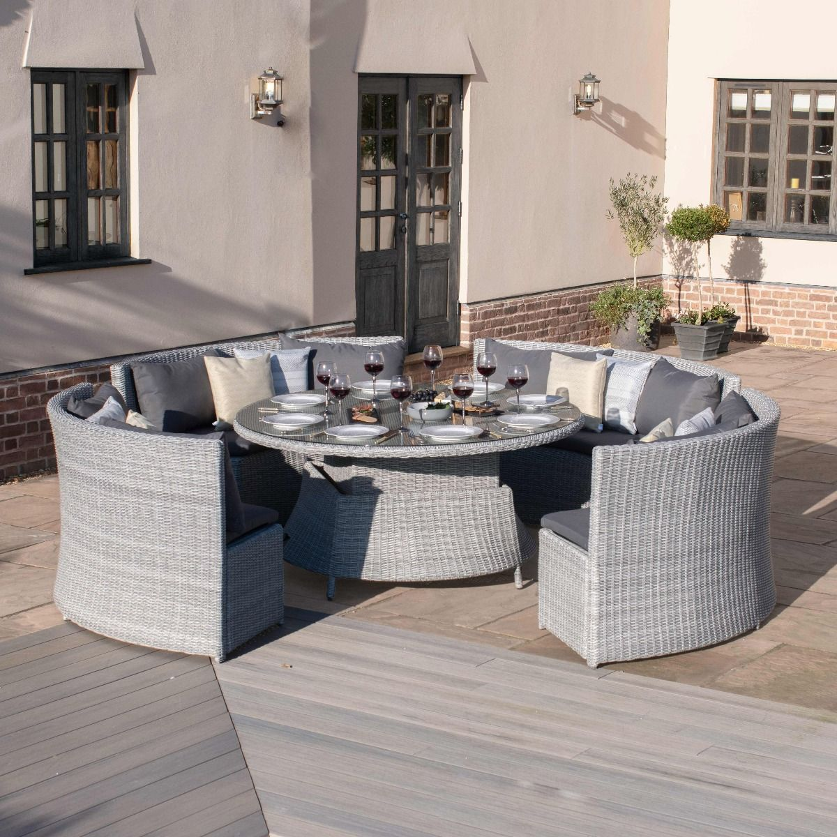 Maze Rattan Ascot Sofa Dining Set With Rising Table Rattan Garden Furniture Round Dining Set Corner Dining Set [ 1200 x 1200 Pixel ]