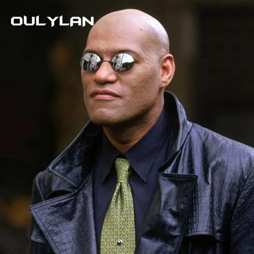 Oulylan Matrix Morpheus Round Rimless Sunglasses