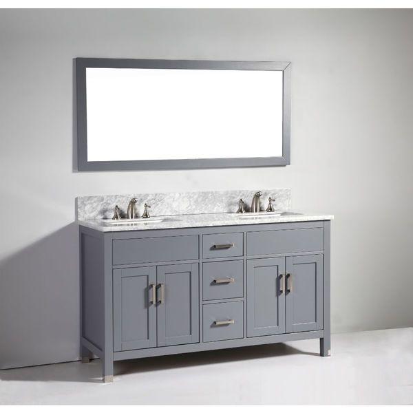 Paris 60-Inch Espresso Double-Sink Bathroom Vanity With Mirrors legion furniture 60-inch dark grey solid wood double sink vanity