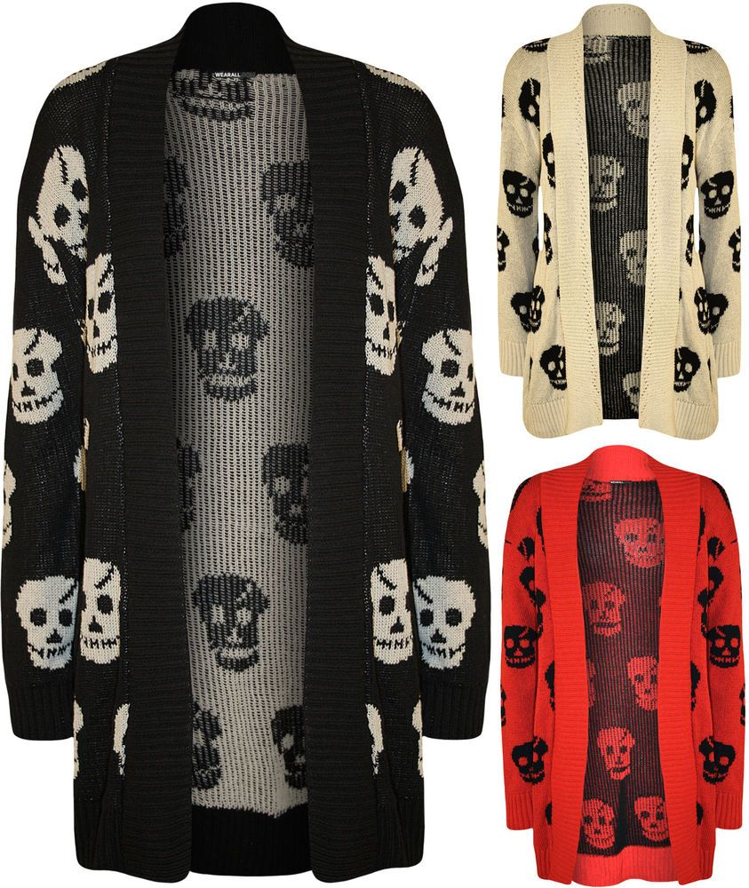 f5ba81a94b196 New Plus Size Womens Skull Long Sleeve Open Top Ladies Knitted Cardigan 16  - 26