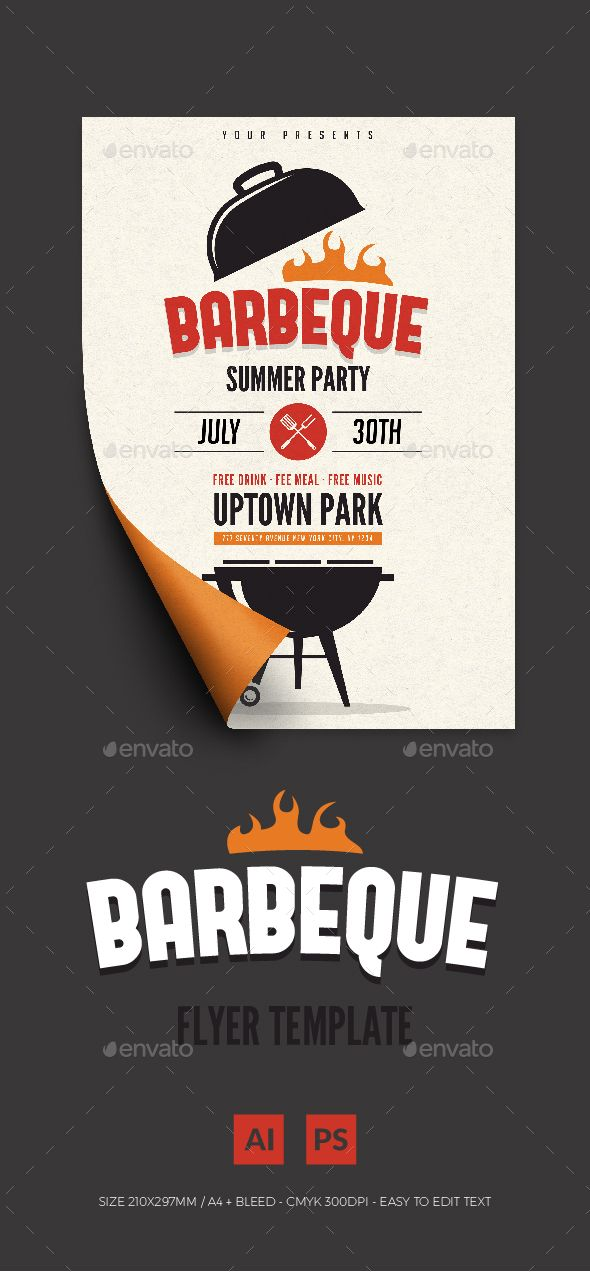 Bbq Summer Party Flyer Ai Illustrator Party Flyer And Flyer Template