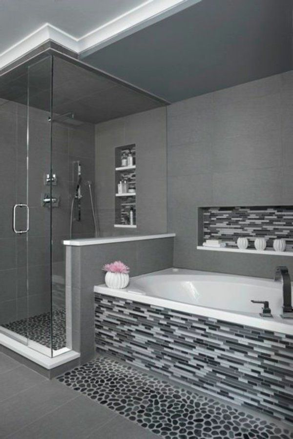 Une salle de bains grise l gance et chic contemporain for Modele salle de bain contemporaine