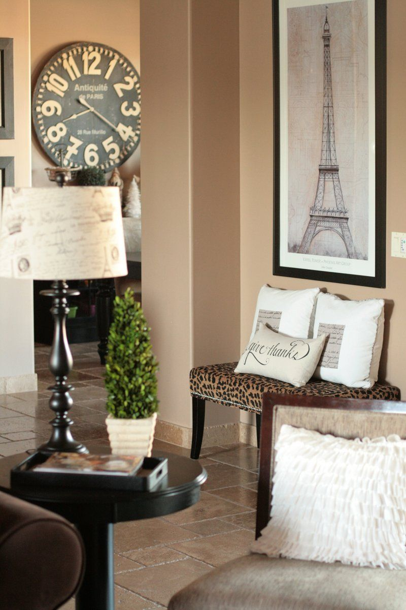 In love with the paris touch here especially the clock for Paris themed decor