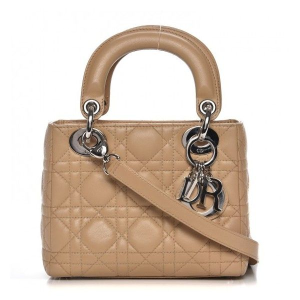 4f7a9204a7f CHRISTIAN DIOR Lambskin Cannage Mini Lady Dior Beige ❤ liked on Polyvore  featuring bags, handbags, logo tote bags, beige handbags, tote bag, mini tote  bags ...