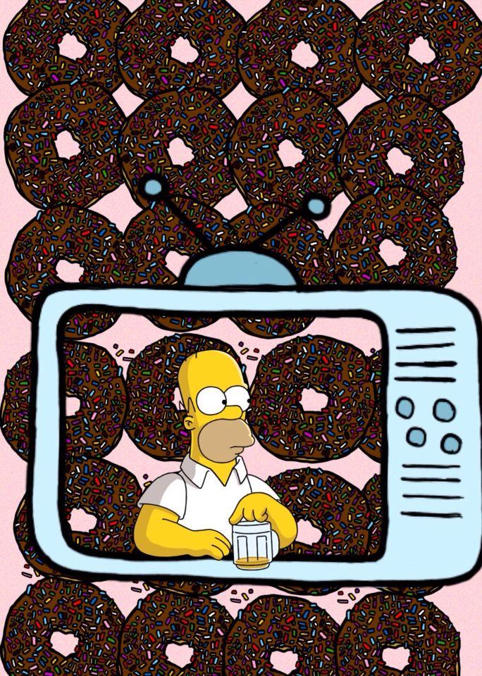 Fondo de pantalla, Homero Simpson, Donas