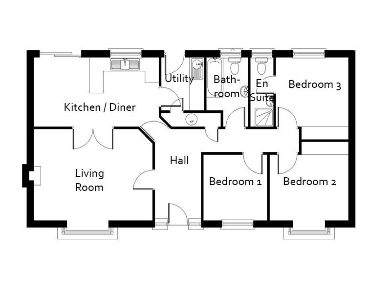 Three Bedroom Bungalow Plan The Foxley Bungalow Floor Plans House Plans Uk Bedroom Floor Plans