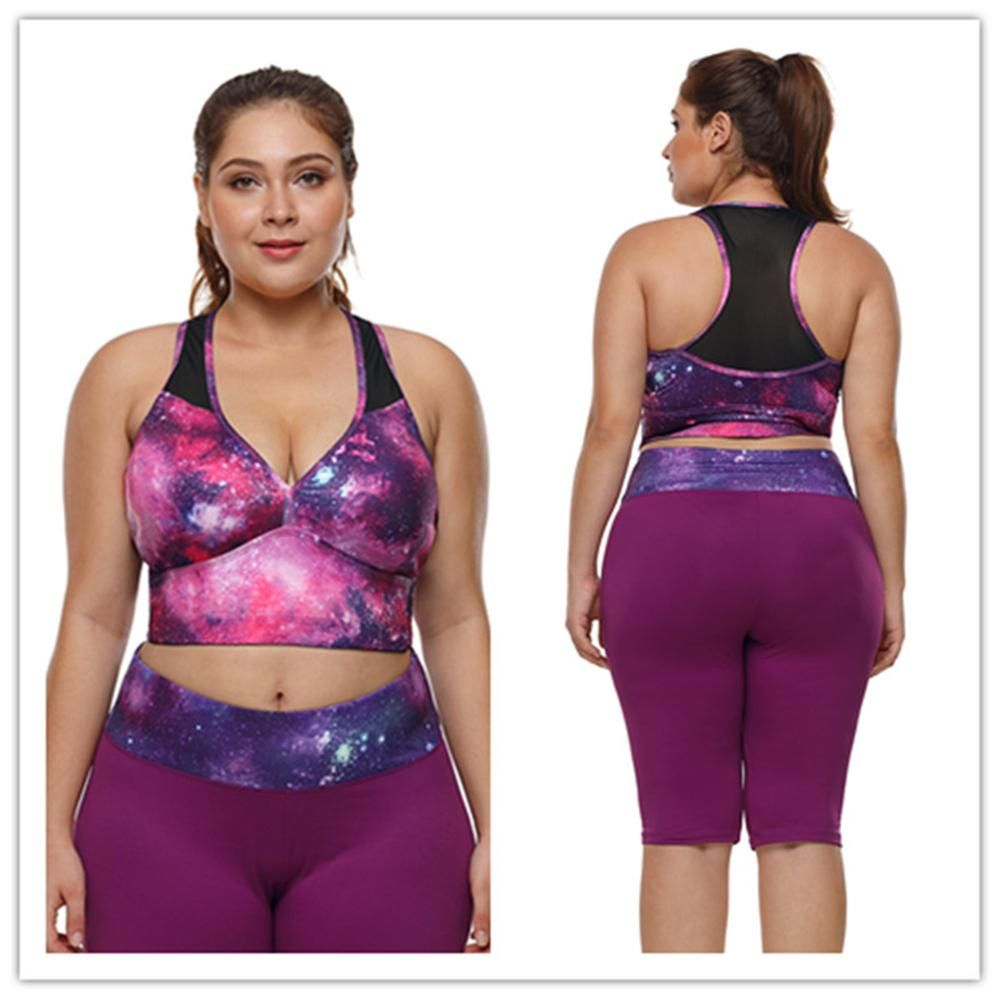 5a1c90ad17e0d Plus Size Workout Sports Crop Tops Gym Racerback Seamless Yoga Fitness  Sport Bra Top Padded Activewear