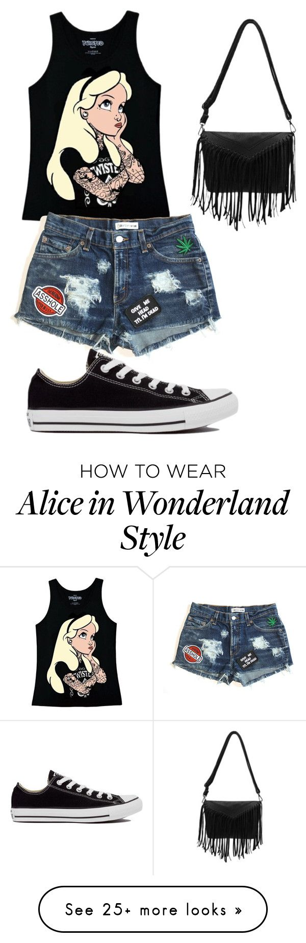 """""""Punk Alice"""" by akalna on Polyvore featuring mode, Disney et Converse"""