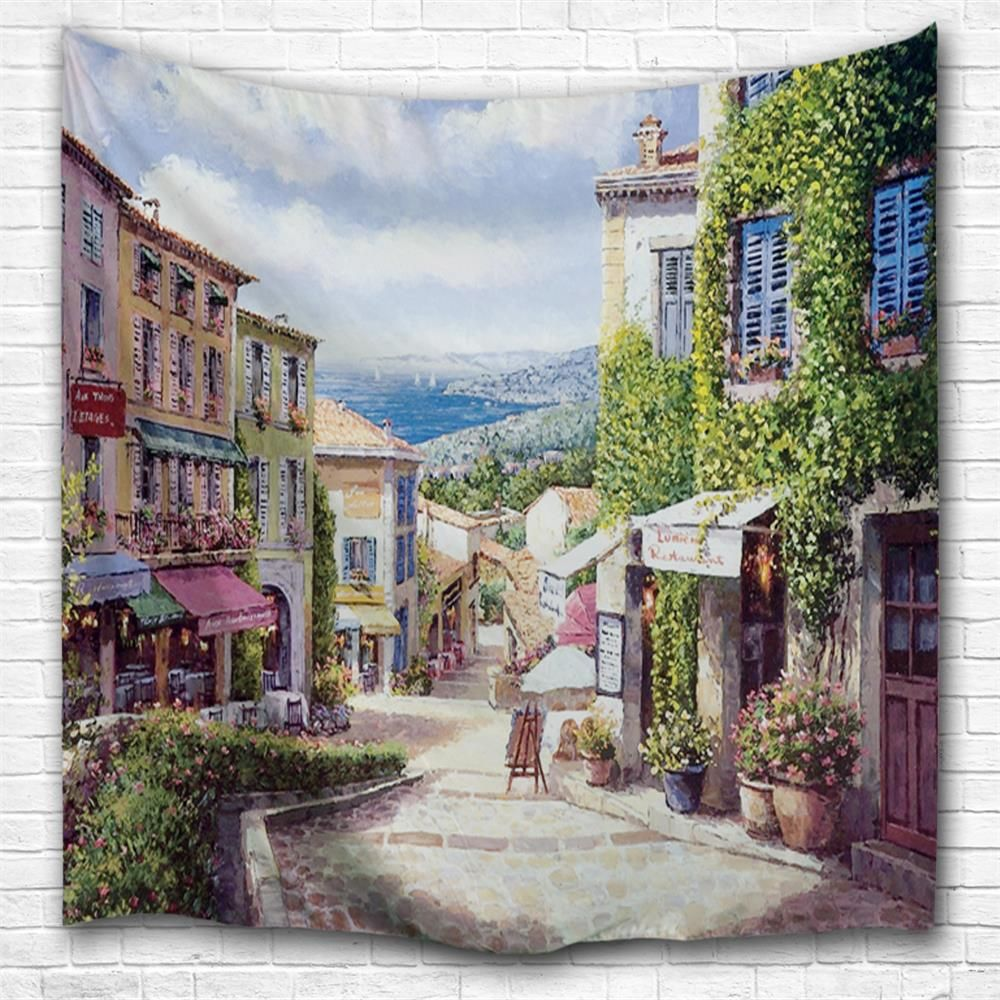 Oil painting city d printing home wall hanging tapestry for