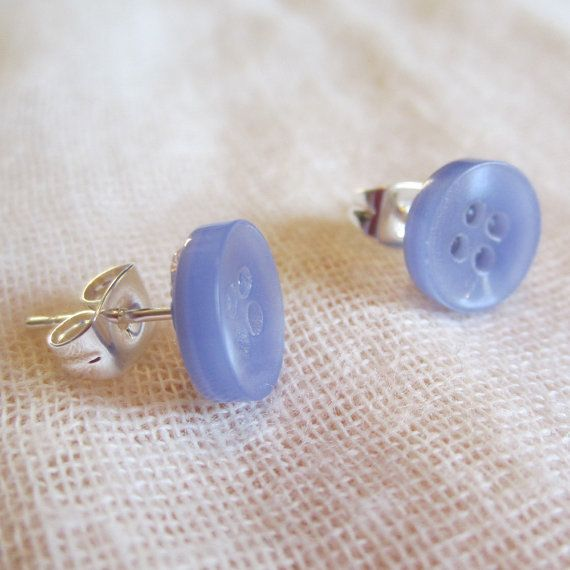 Cutie tiny pastel lavender button earrings Silver by ilovefawn, $3.00