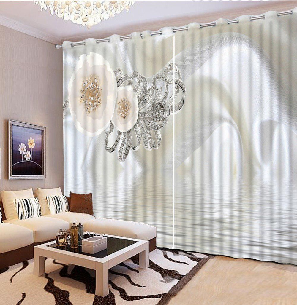 Luxury window coverings  photo customize size fashion silk flower curtains for living room