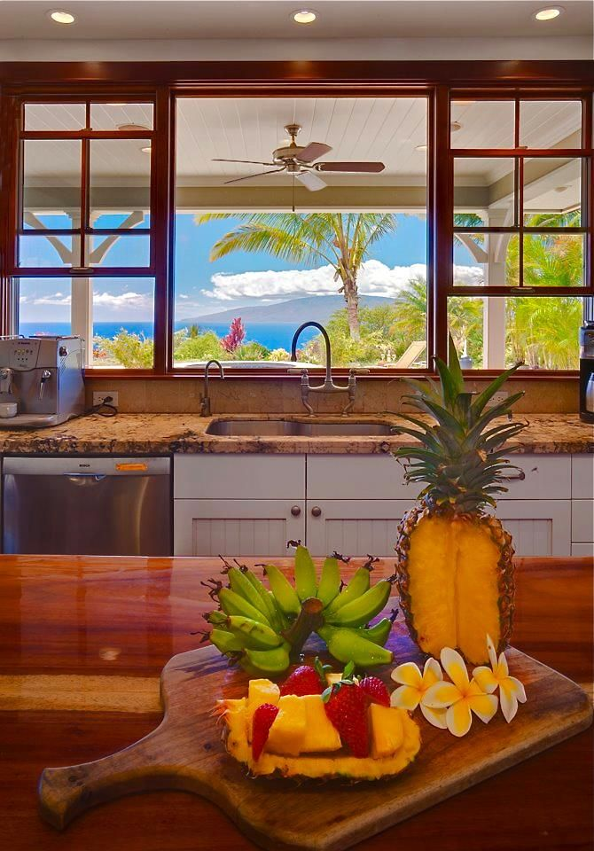 """Tropical Kitchen Decor: Nice Window Detail. Also Note The Simple """"bead Board"""