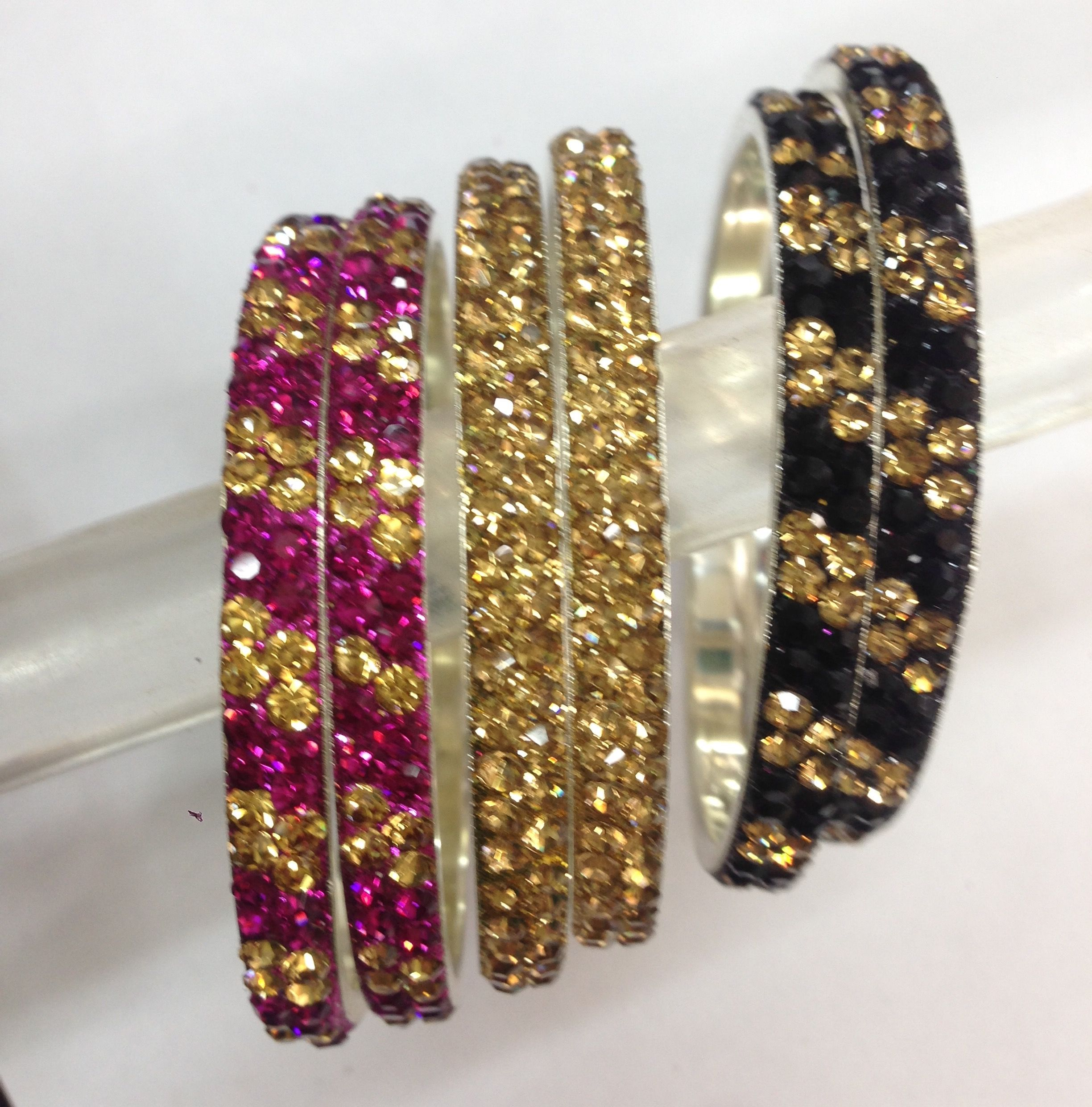 thread pink metal buy and silk designer with black pearl bangles bangle in products