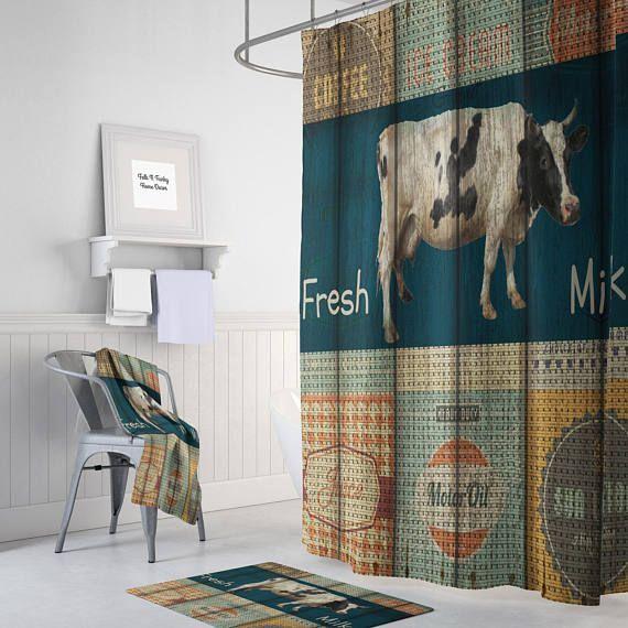 Primitive Rustic Shower Curtain Vintage Inspired Advertising