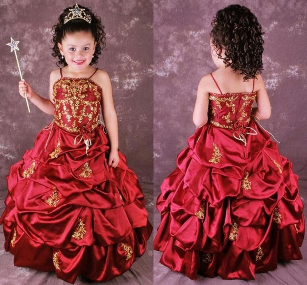 Click to buy ucuc cute red a line embroidery flower girls dresses