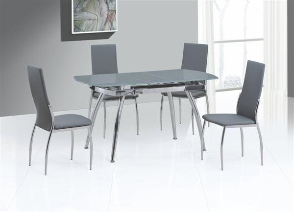Luna Grey Pu Glass 5Pc Dining Room Complete Set  Chintaly Imports Enchanting Glass Dining Room Set Design Decoration