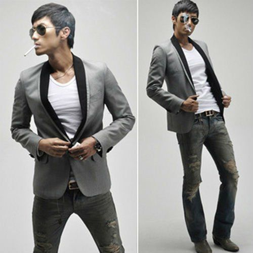 New suits for mens suits Slim fit one Button Casual Blazers Coat Jackets  Grey Asian size