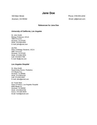 References On Resume Format Format References Resume