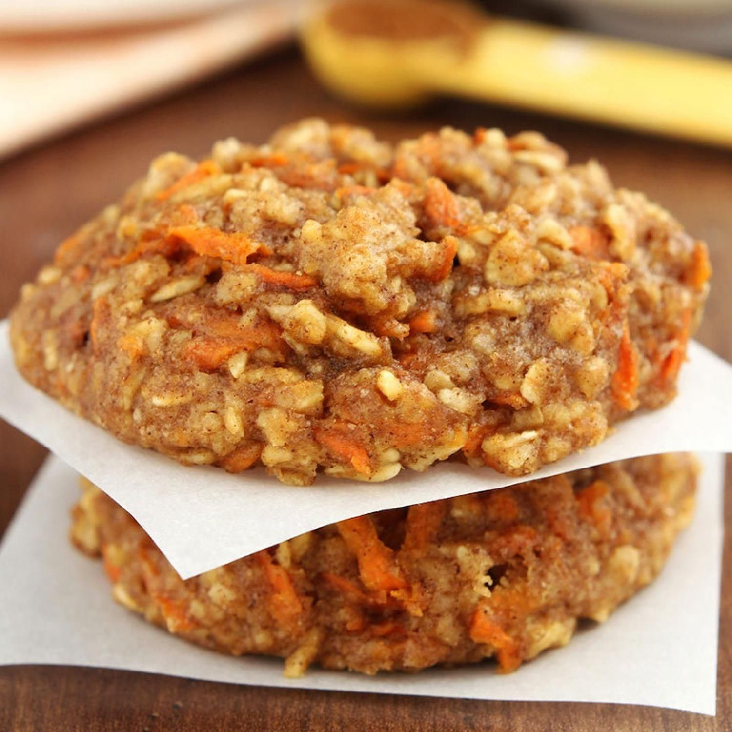 Healthy Desserts: Carrot Cake Oatmeal Cookies.  Each cinnamony bite contains a mouthful of oats and grated carrots, both of which reduce cholesterol.