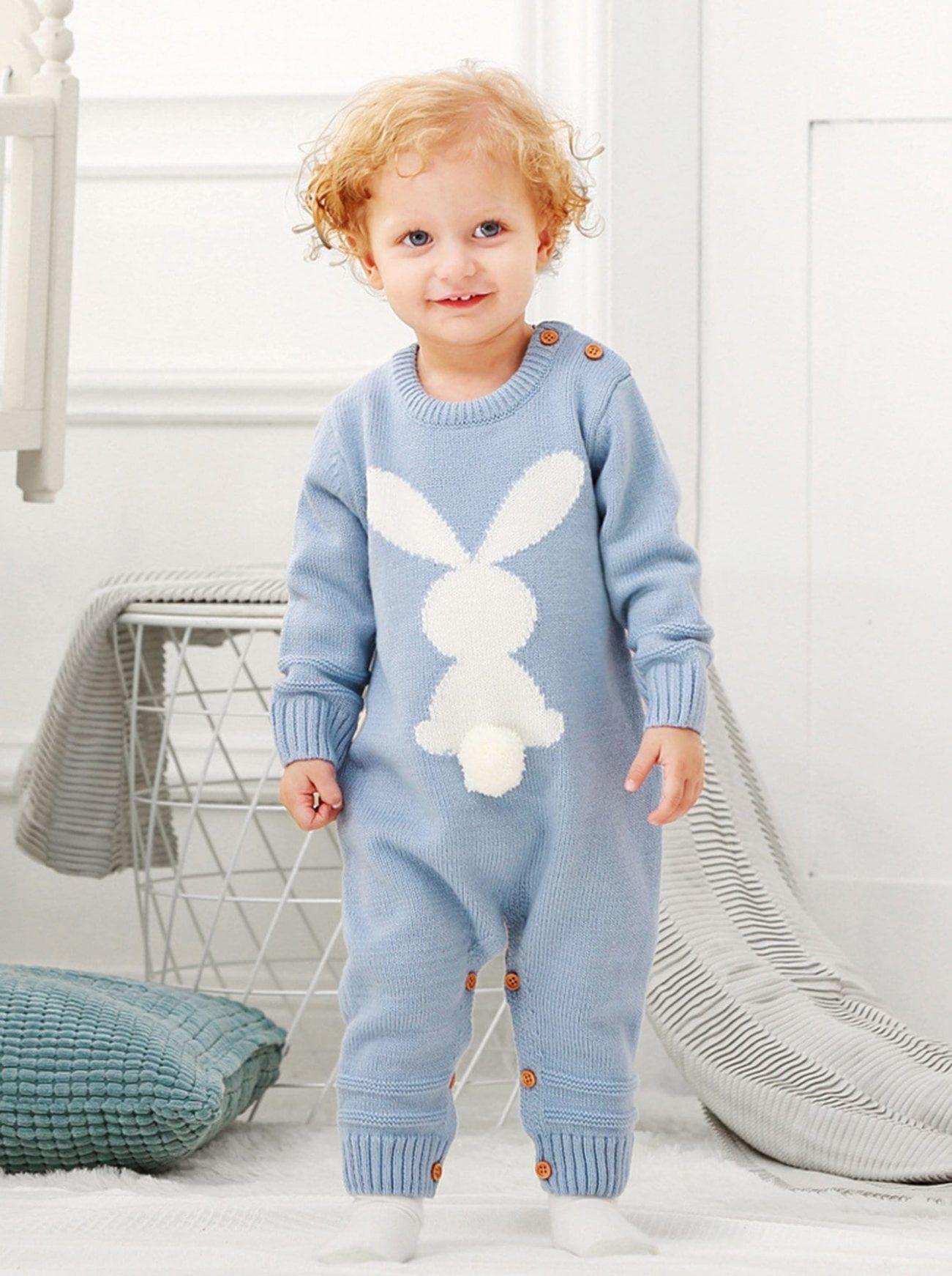 Toddler Boys Rabbit Pattern Knit Jumpsuit