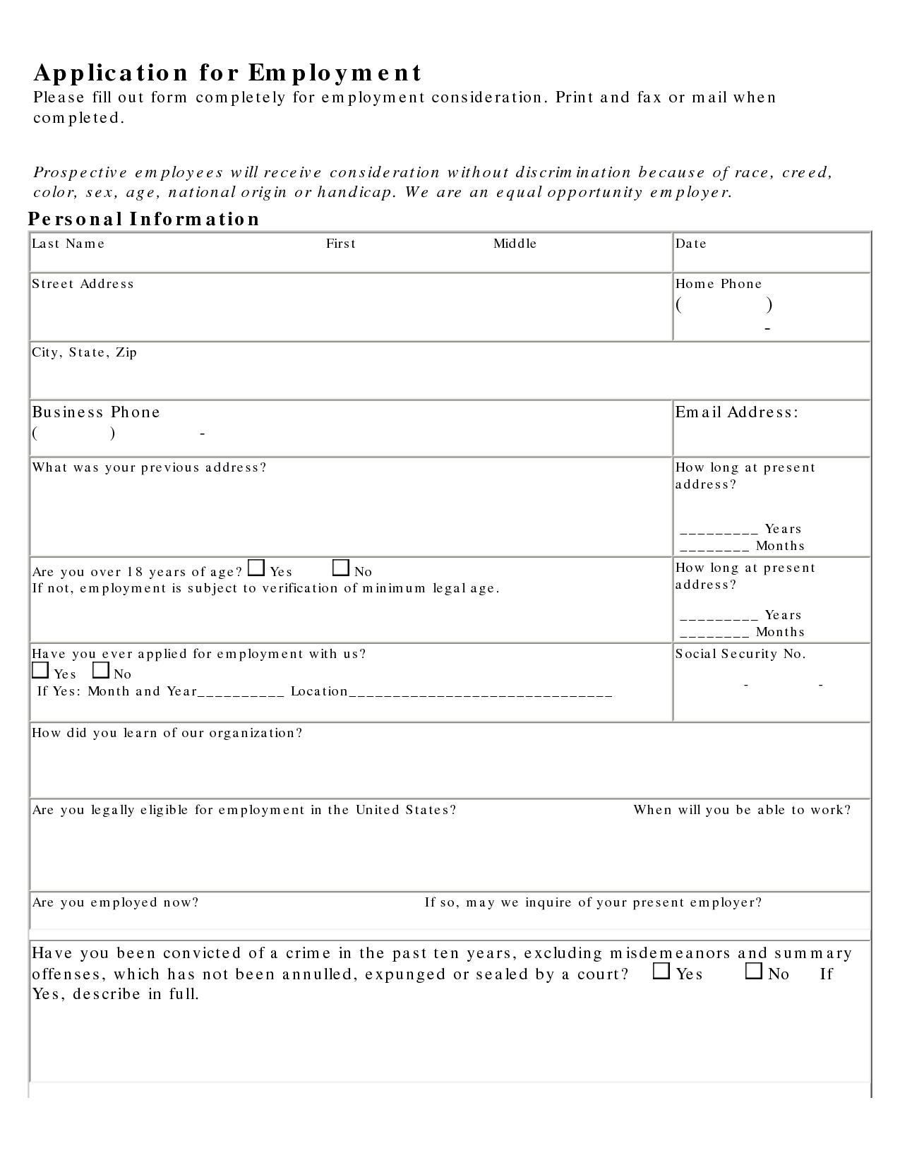 Job Application Practice Job Application Form Sample About Careers Job Application Printable