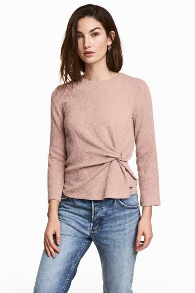 Very Tie Front Crinkle Jersey Top - , Women