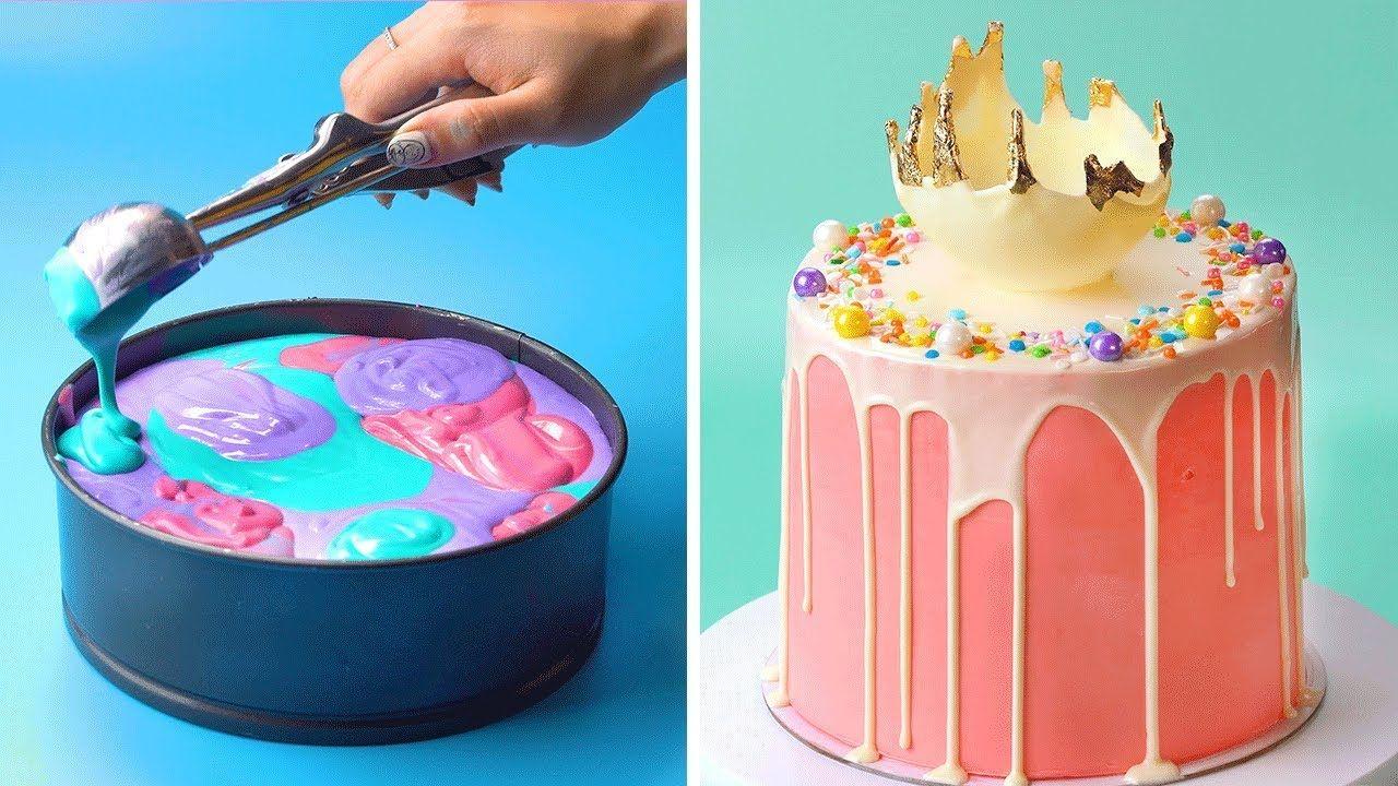 توجه لجعل ألوان كعكة صغيرة لطيف وجميل الكعكة بسيطة جدا وسهلة الصنع Cake Desserts Food